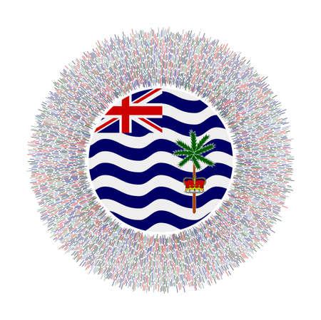 Flag of BIOT with colorful rays. Radiant country sign. Shiny sunburst with BIOT flag. Modern vector illustration. Illusztráció