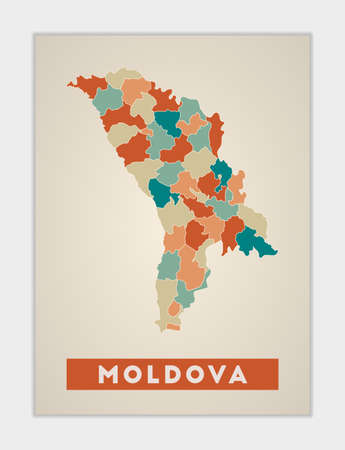 Moldova poster. Map of the country with colorful regions. Shape of Moldova with country name. Neat vector illustration.