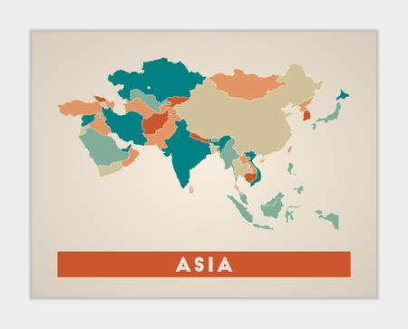 Asia poster. Map of the continent with colorful regions. Shape of Asia with continent name. Appealing vector illustration.