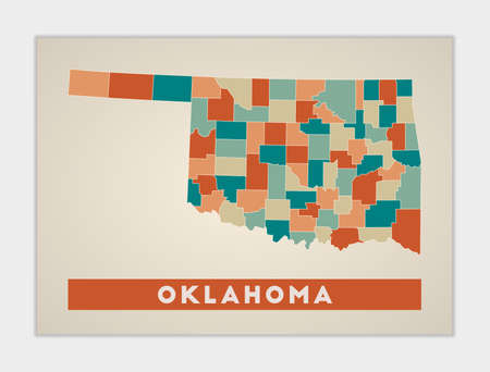 Oklahoma poster. Map of the us state with colorful regions. Shape of Oklahoma with us state name. Radiant vector illustration.