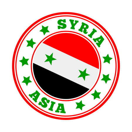 Syria sign. Round country logo with flag of Syria. Vector illustration.