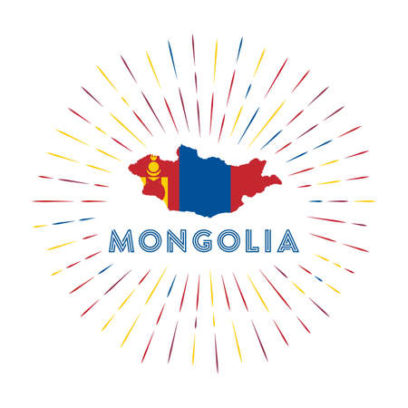 Mongolia sunburst badge. The country sign with map of Mongolia with Mongolian flag. Colorful rays around the logo. Vector illustration. Ilustração
