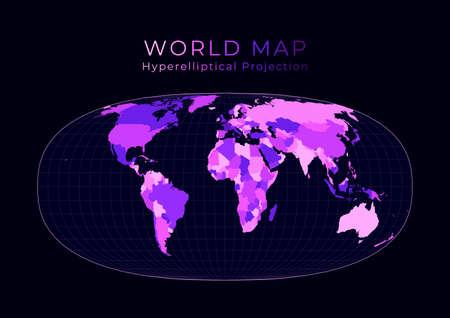 World Map. Waldo R. Tobler's hyperelliptical projection. Digital world illustration. Bright pink neon colors on dark background. Beautiful vector illustration. Vektorové ilustrace