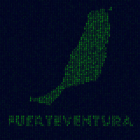Digital Fuerteventura logo. Island symbol in hacker style. Binary code map of Fuerteventura with island name. Superb vector illustration.
