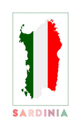 Sardinia Logo. Map of Sardinia with island name and flag. Authentic vector illustration. Ilustração