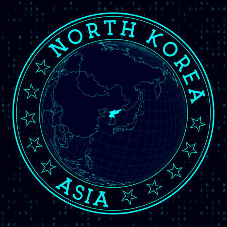 North Korea round sign. Futuristic satelite view of the world centered to North Korea. Country badge with map, round text and binary background. Radiant vector illustration.