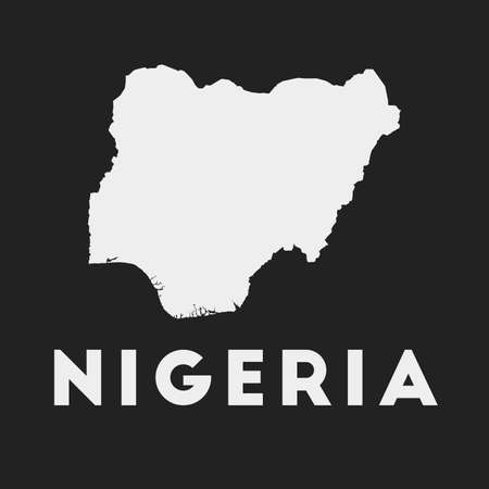 Nigeria icon. Country map on dark background. Stylish Nigeria map with country name. Vector illustration. Çizim