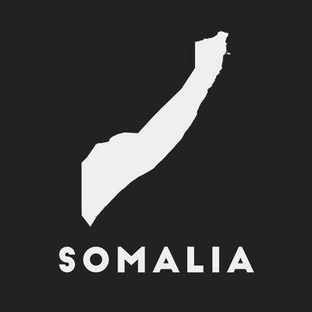 Somalia icon. Country map on dark background. Stylish Somalia map with country name. Vector illustration.