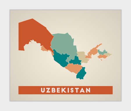 Uzbekistan poster. Map of the country with colorful regions. Shape of Uzbekistan with country name. Stylish vector illustration. Çizim