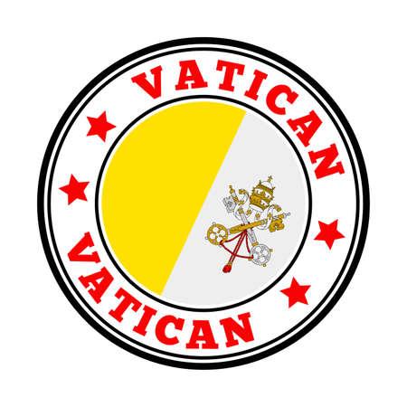 Vatican sign. Round country logo with flag of Vatican. Vector illustration. Ilustração