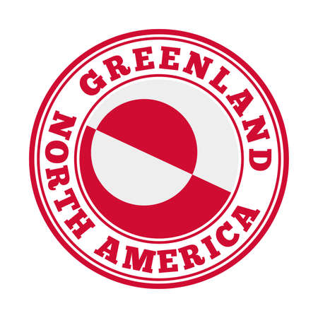 Greenland sign. Round country logo with flag of Greenland. Vector illustration.