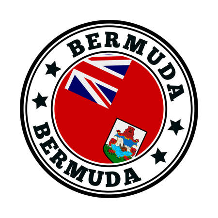 Bermuda sign. Round country logo with flag of Bermuda. Vector illustration. Иллюстрация