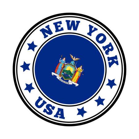 New York sign. Round us state logo with flag of New York. Vector illustration. Ilustração