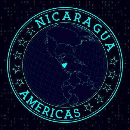 Nicaragua round sign. Futuristic satelite view of the world centered to Nicaragua. Country badge with map, round text and binary background. Attractive vector illustration.