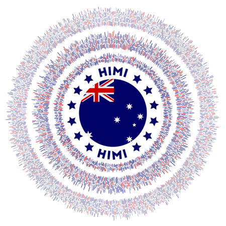 HIMI symbol. Radiant country flag with colorful rays. Shiny sunburst with HIMI flag. Astonishing vector illustration.
