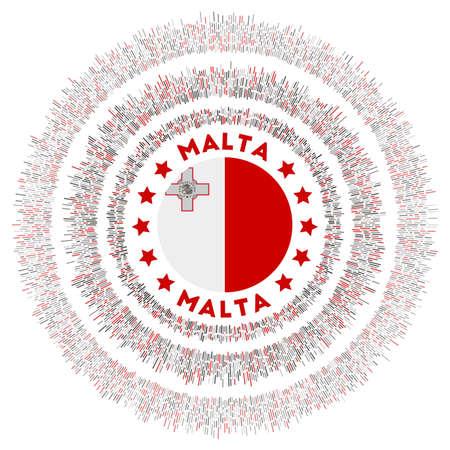 Malta symbol. Radiant country flag with colorful rays. Shiny sunburst with Malta flag. Captivating vector illustration.