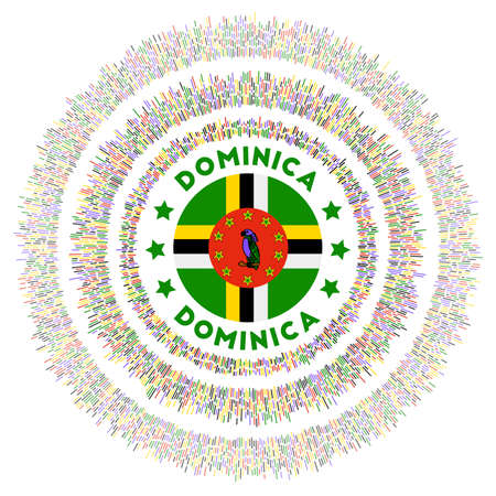 Dominica symbol. Radiant country flag with colorful rays. Shiny sunburst with Dominica flag. Modern vector illustration.