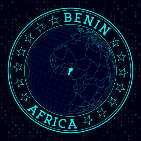 Benin round sign. Futuristic satelite view of the world centered to Benin. Country badge with map, round text and binary background. Elegant vector illustration. 免版税图像 - 138584489