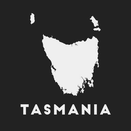 Tasmania icon. Island map on dark background. Stylish Tasmania map with island name. Vector illustration. Illustration