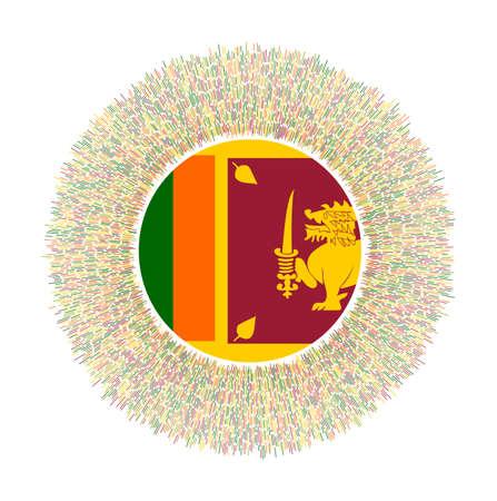 Flag of Sri Lanka with colorful rays. Radiant country sign. Shiny sunburst with Sri Lanka flag. Stylish vector illustration.