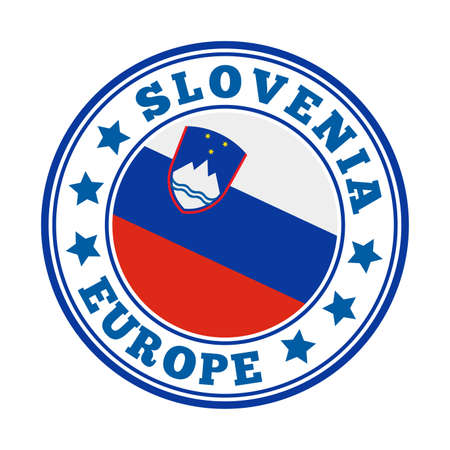 Slovenia sign. Round country   with flag of Slovenia. Vector illustration.