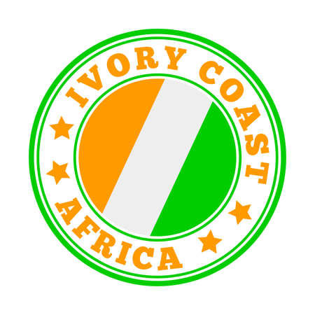Ivory Coast sign. Round country with flag of Ivory Coast. Vector illustration.