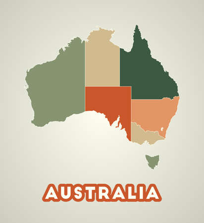 Australia poster in retro style. Map of the country with regions in autumn color palette. Shape of Australia with country name. Modern vector illustration. Illustration