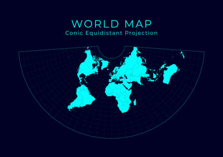 Map of The World. Conic equidistant projection. Futuristic Infographic world illustration. Bright cyan colors on dark background. Stylish vector illustration. Stock Illustratie