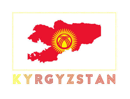 Map of Kyrgyzstan with country name and flag. Stylish vector illustration.