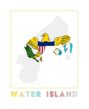 Map of Water Island with island name and flag. Awesome vector illustration. 일러스트