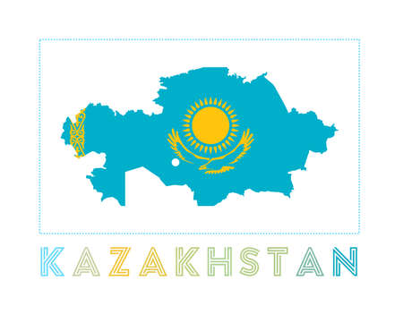 Map of Kazakhstan with country name and flag. Powerful vector illustration.