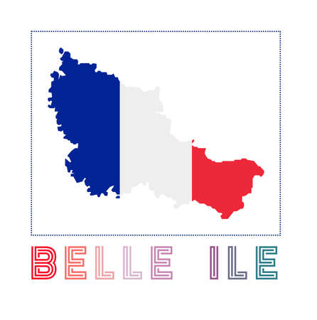Map of Belle Ile with island name and flag. Attractive vector illustration. 일러스트