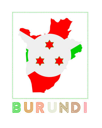 Map of Burundi with country name and flag. Cool vector illustration. Illustration