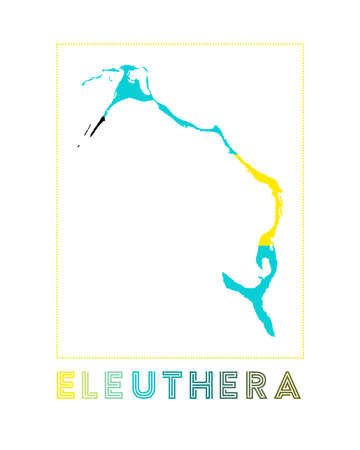 Map of Eleuthera with island name and flag. Artistic vector illustration.