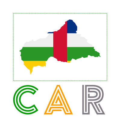 Map of CAR with country name and flag. Attractive vector illustration.