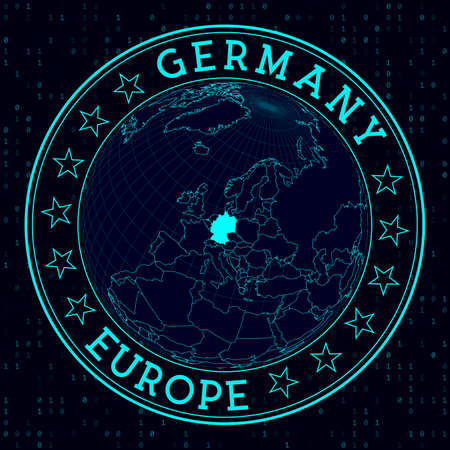 Germany round sign. Futuristic satelite view of the world centered to Germany. Country badge with map, round text and binary background. Stylish vector illustration. Illusztráció