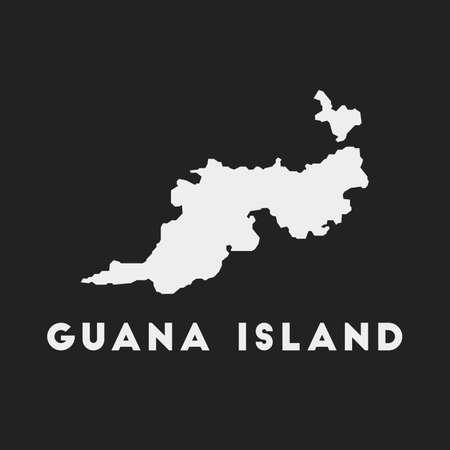 Guana Island icon. Island map on dark background. Stylish Guana Island map with island name. Vector illustration.
