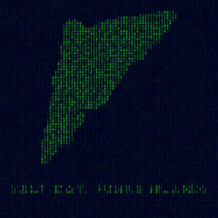Digital Salt Cay, Turks Islands, Island symbol in hacker style. Binary code map of Salt Cay, Turks Islands with island name. Cool vector illustration.