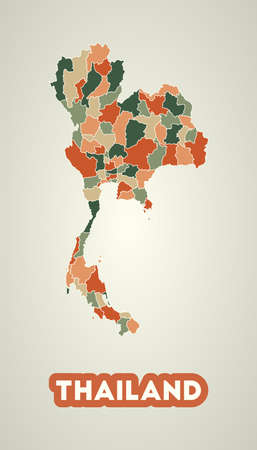 Thailand poster in retro style. Map of the country with regions in autumn color palette. Shape of Thailand with country name. Neat vector illustration.