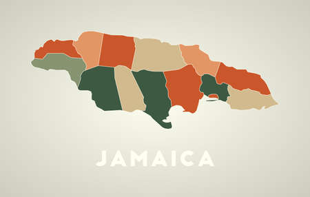 Jamaica poster in retro style. Map of the country with regions in autumn color palette. Shape of Jamaica with country name. Stylish vector illustration.