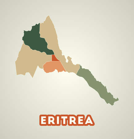 Eritrea poster in retro style. Map of the country with regions in autumn color palette. Shape of Eritrea with country name. Charming vector illustration. 向量圖像