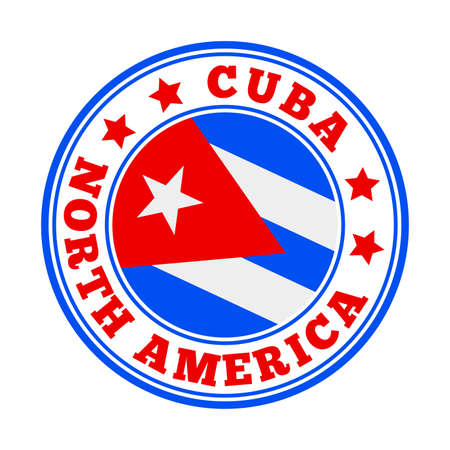 Cuba sign. Round country   with flag of Cuba. Vector illustration.