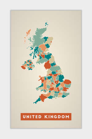 United Kingdom poster. Map of the country with colorful regions. Shape of United Kingdom with country name. Radiant vector illustration. Ilustração