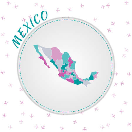 Mexico map design. Map of the country with regions in emerald-amethyst color palette. Rounded travel to Mexico poster with country name and airplanes background. Stylish vector illustration.