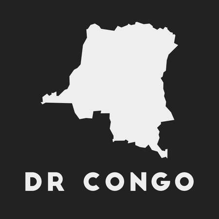 DR Congo icon. Country map on dark background. Stylish DR Congo map with country name. Vector illustration. Illustration