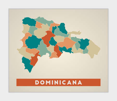 Dominicana poster. Map of the country with colorful regions. Shape of Dominicana with country name. Authentic vector illustration. Ilustração