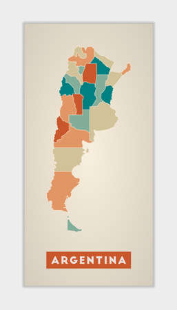Argentina poster. Map of the country with colorful regions. Shape of Argentina with country name. Classy vector illustration.