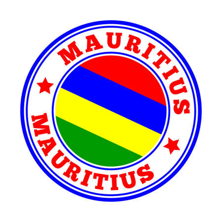 Mauritius sign. Round country   with flag of Mauritius. Vector illustration. Illustration