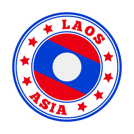 Laos sign. Round country with flag of Laos. Vector illustration.