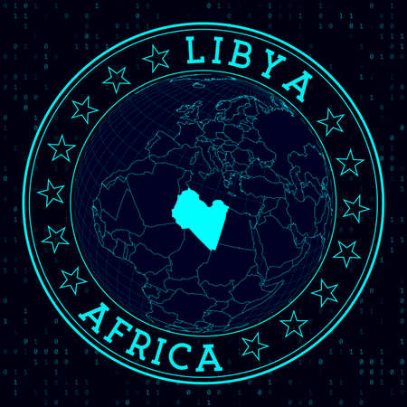 Libya round sign. Futuristic satelite view of the world centered to Libya. Country badge with map, round text and binary background. Astonishing vector illustration.